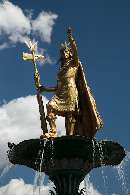 A photograph of a statue of Inca Pachacutec taken in Cusco, Peru