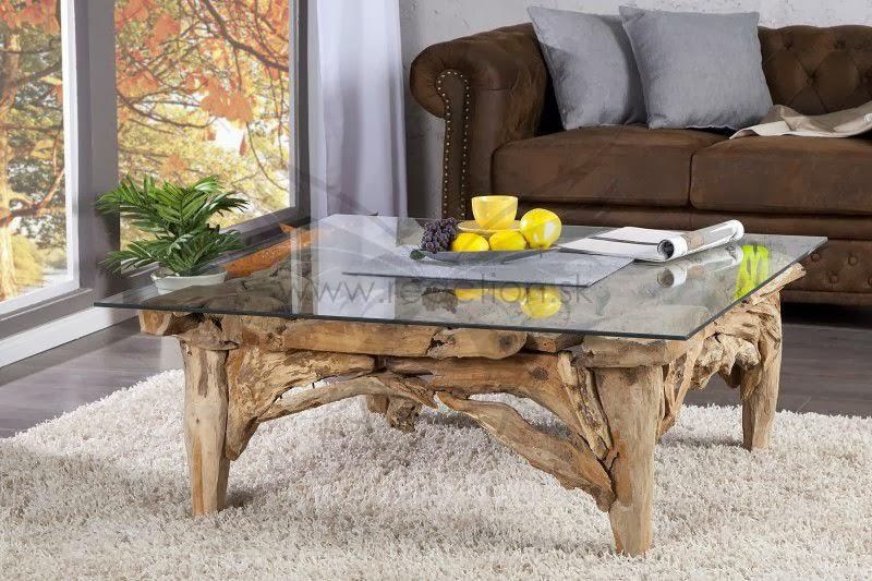 masivny nabytok, stôl so sklom, sklenena vrchna doska, masiny stolik do obyvacky, interierovy nabytok z masivu