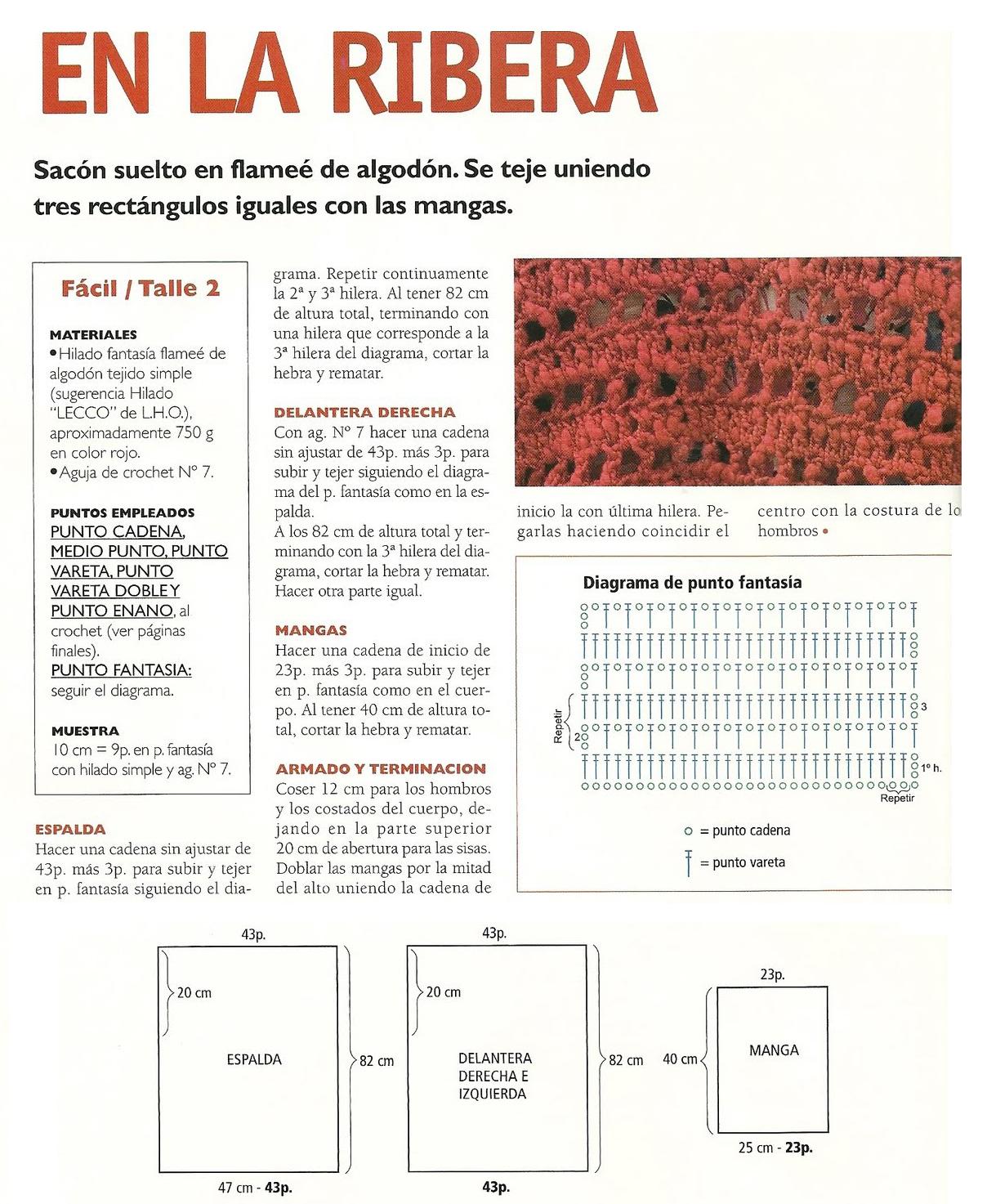 Chaleco saco en 3 rectangulos patron - Patrones Crochet