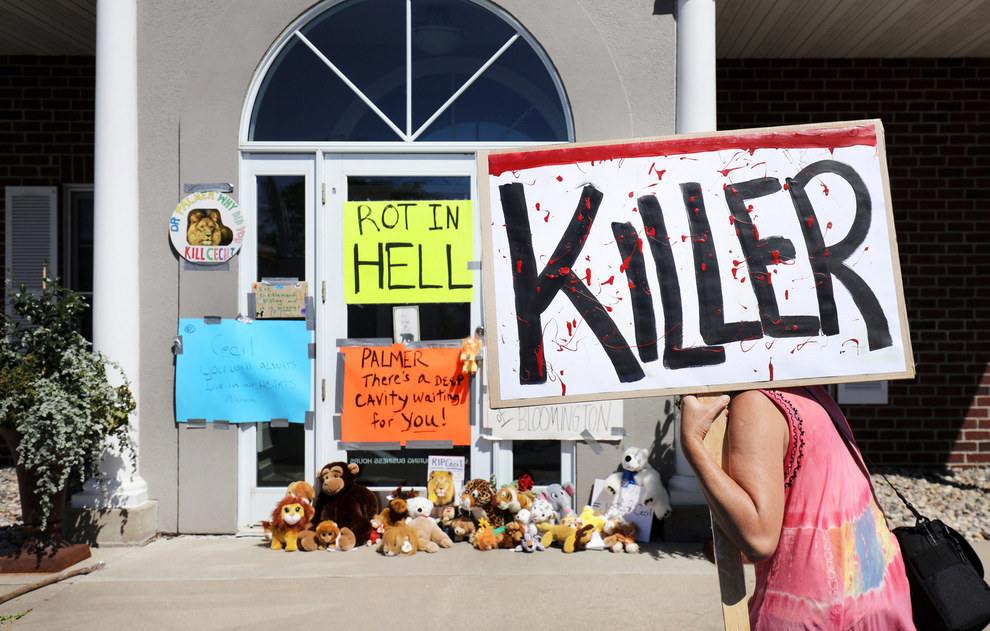 70 Of The Most Touching Photos Taken In 2015 - Protesters denounce the poaching of Cecil the lion, in the parking lot of Dr. Walter Palmer's River Bluff Dental Clinic in Bloomington, Minnesota.