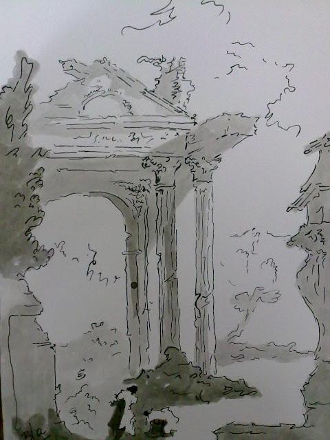 dibujo a tinta de templo en ruinas