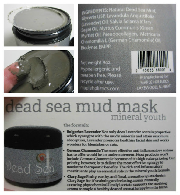 Maple Holistics Dead Sea mud mask ingredients and info