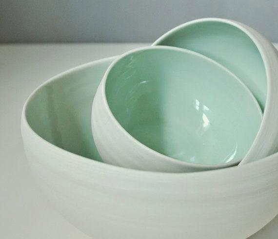 Mint green bowls
