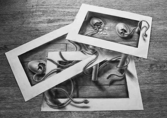Alucinantes dibujos en 3D sobre hojas planas de papel