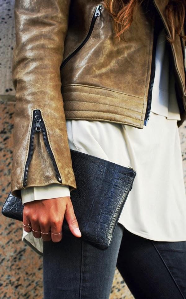 Cracked brownish biker leather jacket fashion