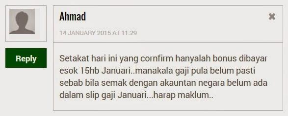 Bonus Dan Gaji Kakitangan Awam 15 Januari 2015