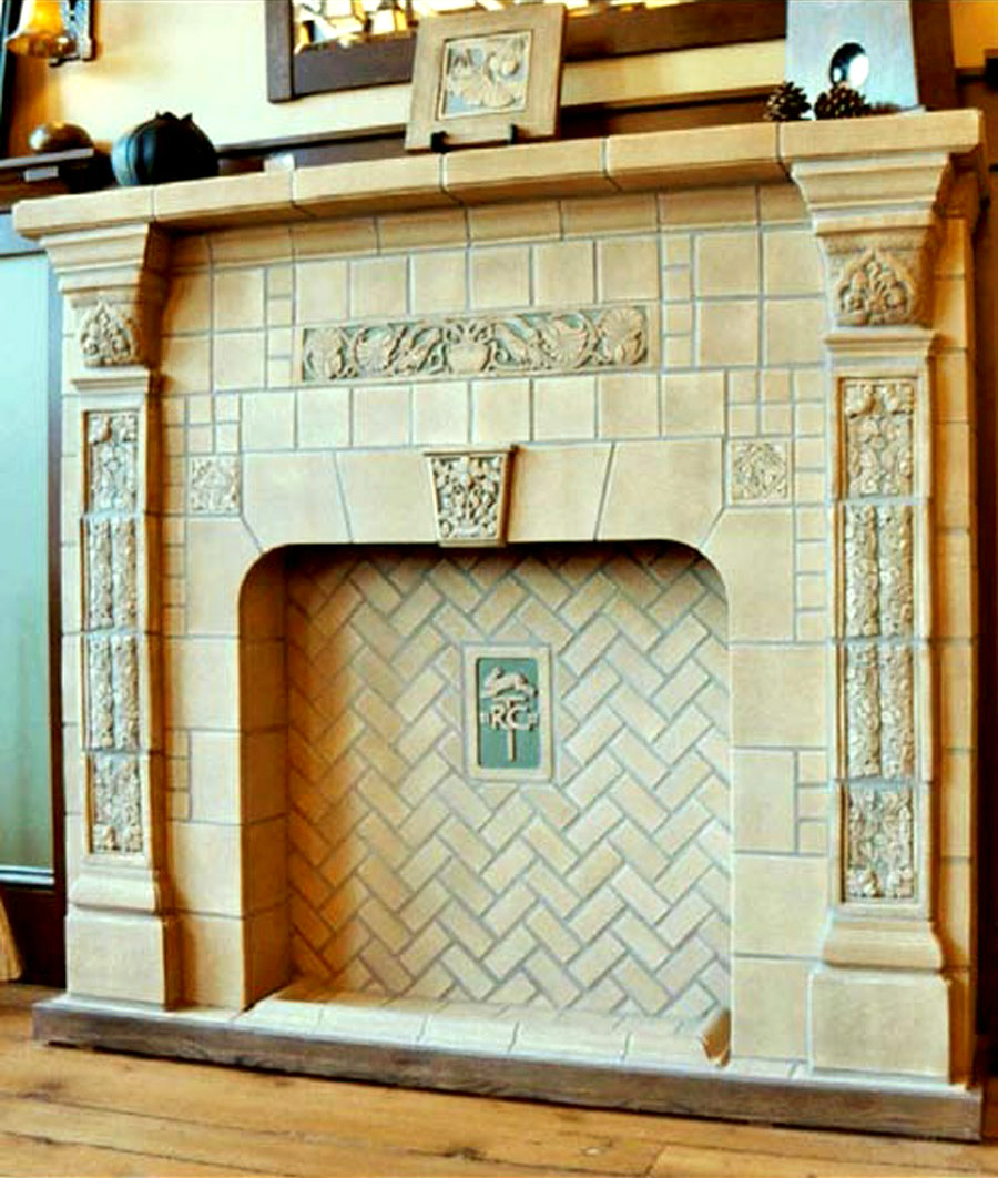 Pratt and larson tile tile for your craftsman home tile restoration center fireplace in the batchelder tradition dailygadgetfo Choice Image
