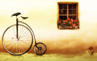 Crow on a Bicycle HD Wallpaper