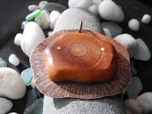 Colgante cobre envejecido y texturado, picoyo remachado (242)