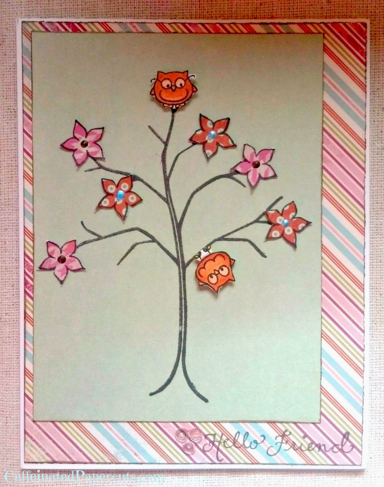 denami tree denami flowers denami owls pretty pink post summer card