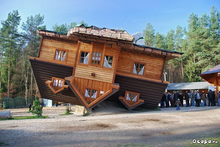 Civil on fire upside down house shimbark poland The upside house