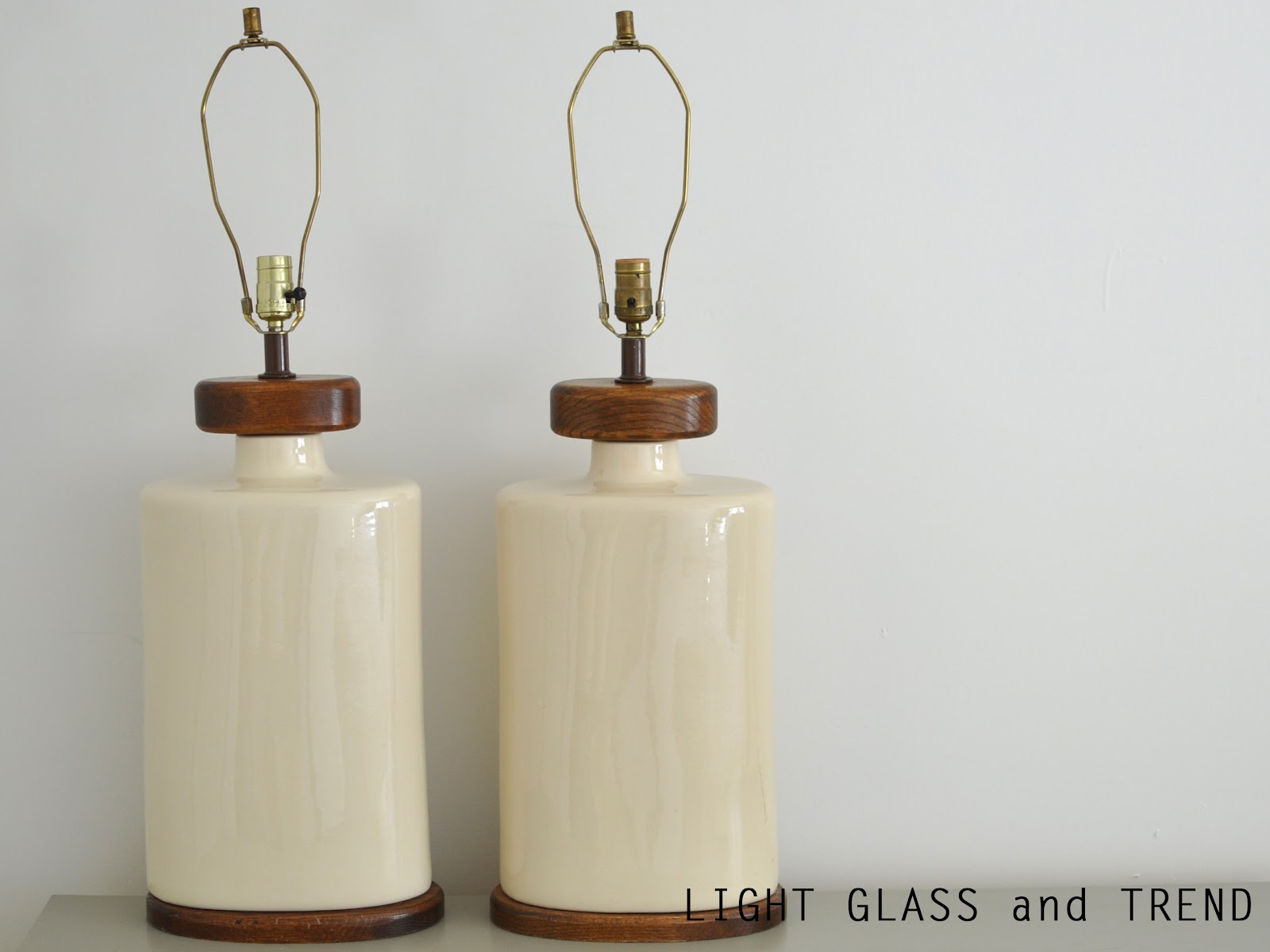 light glass and trend mid century modern cream ceramic and wood lamps