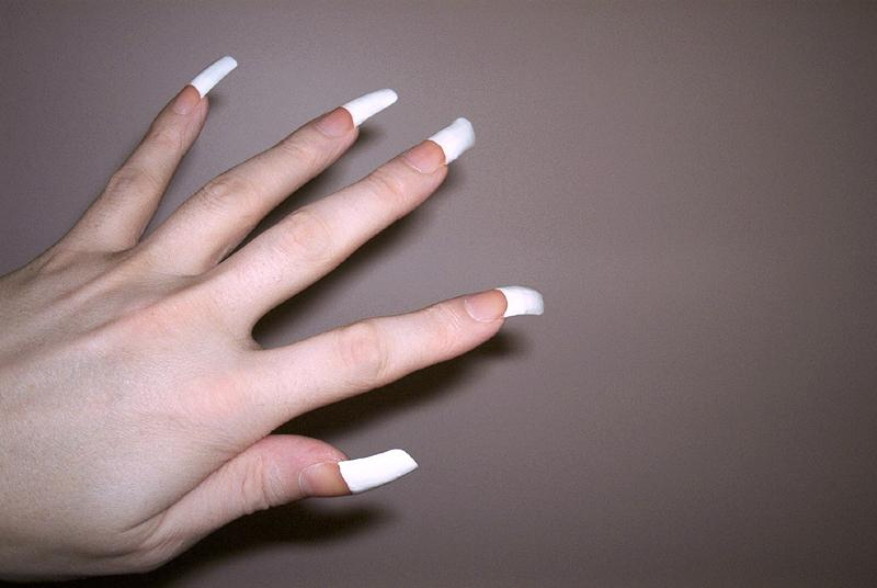 ... White - Partial French Manicure on Long Nails Picture ~ nail art shop