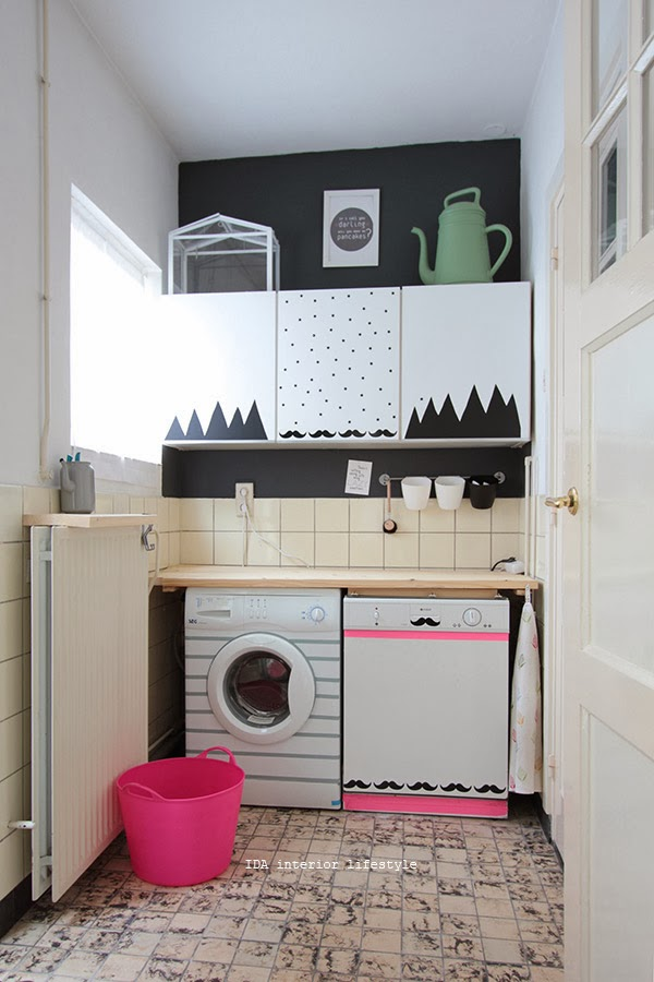 Diy cuarto de la lavadora con wahi tape pegatinas y - Decoracion con washi tape ...