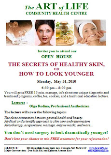 Poster: The Art of Life Community Health Centre Toronto Open House Secrets to Healthy Skin, How to Look Younger