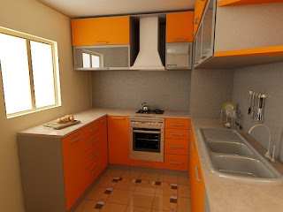 orange kitchen cabinets