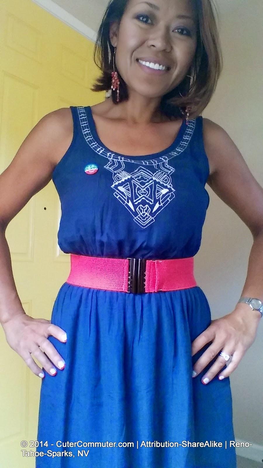 navy dress with pink cinch belt