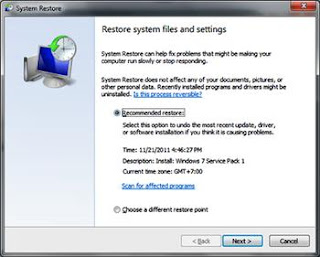 restore system file dan program
