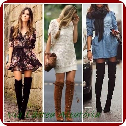Looks de inverno usando botas cano alto e vestidos