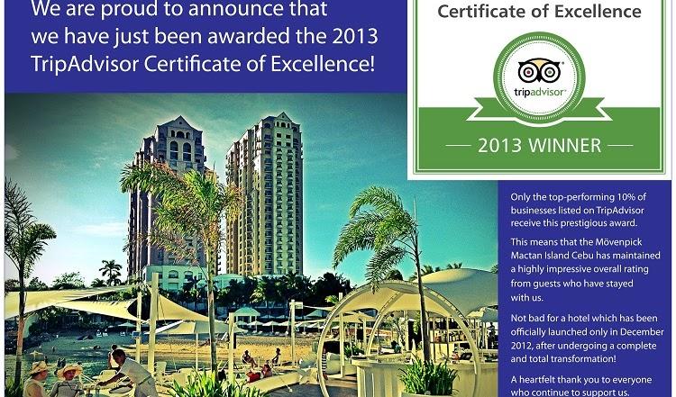 Mӧvenpick Hotel Mactan Island Cebu - awarded TripAdvisor Certificate of Excellence