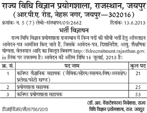 Assistant vacancies in State Forensic Science Laboratory, Rajasthan