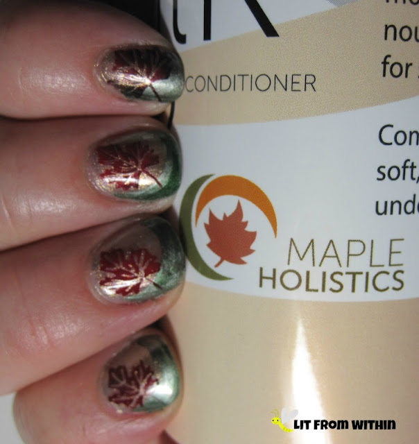 A little stamping nailart, inspired by the Maple Holistics logo.  I used China Glaze Gone Glamping for the base, and SephoraX Rocket Fuel for the funky French tip.  I mixed Finger Paints Black Expressionism and Sally Hansen Rapid Red for the Maple leaf stamp, to give it a rusty red look.