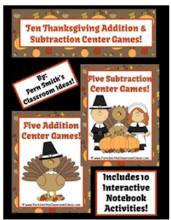 Fern Smith's Classroom Ideas Thanksgiving Addition and Subtraction Center Game and Interactive Notebook Activities