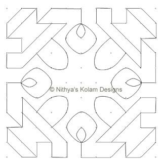5 Siva Lingam Kolam  dots 11 x 11