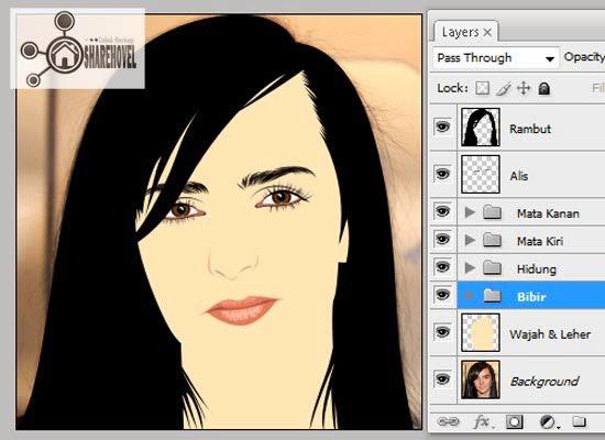 hasil dari membuat vector bibir di photoshop - tutorial membuat vector di photoshop - membuat foto menjadi kartun dengan photoshop