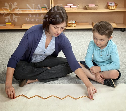 namc montessori studying absorbent mind chapter 5 teacher boy working with 100 bead chain