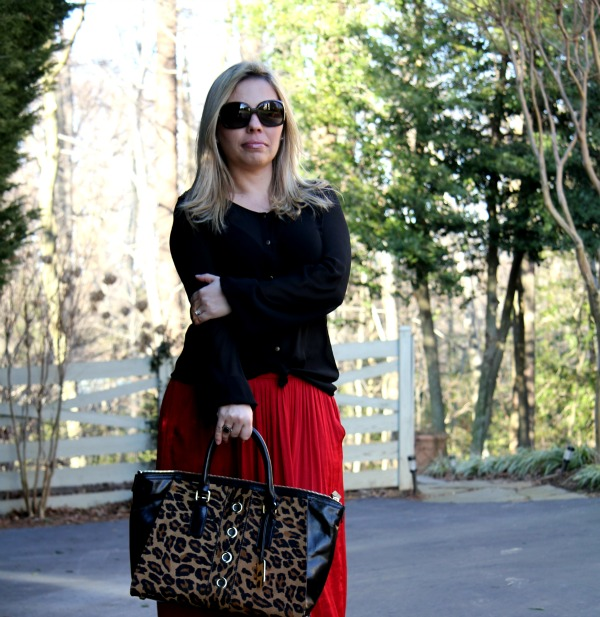 Red Maxi Skirt from Zara, Sheer Black Blouse from Forever 21, Harper Calf Hair Tote Bag from Milly, Oversized Round Check Sunglasses from Burberry, Bracelet from TJ Maxx