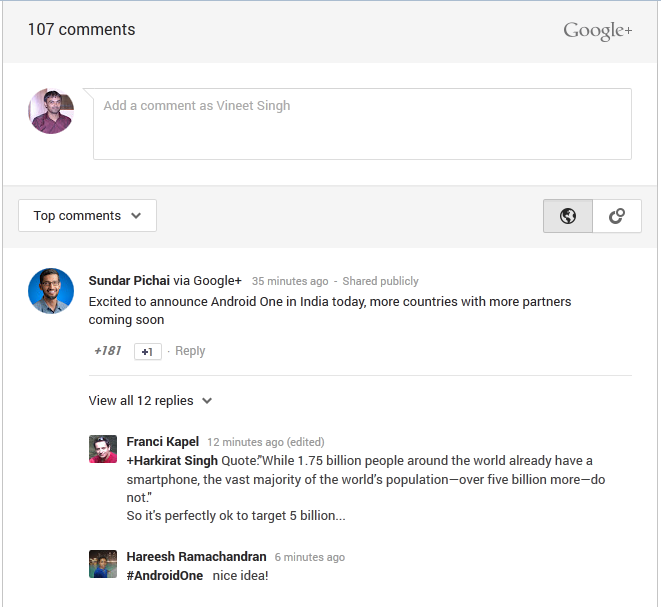Sundar Pichai Comment on the AndroidOne Blog