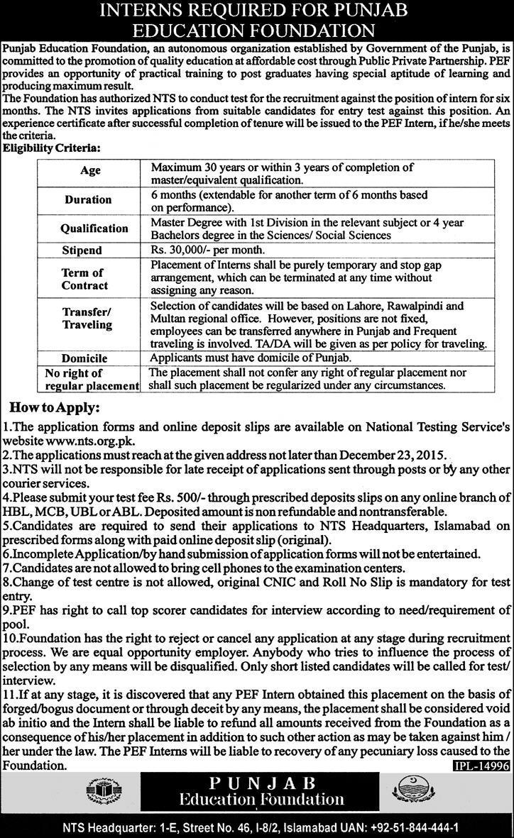 Interns Jobs in Punjab Education Foundation