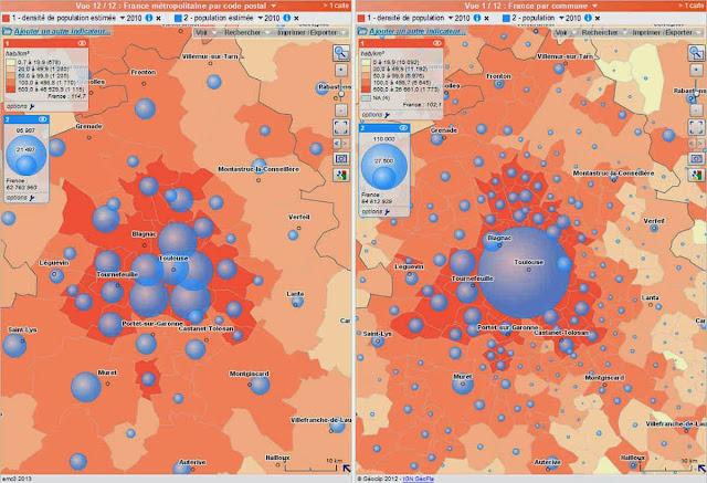 comparaison codes postaux / communes dans France découverte