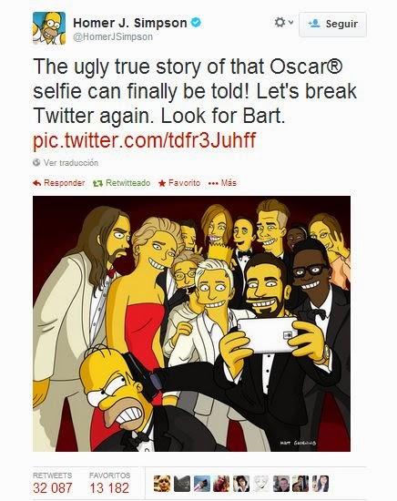 Selfie, Homer y Bart Simpson, Premios Oscar, Ellen DeGeneres
