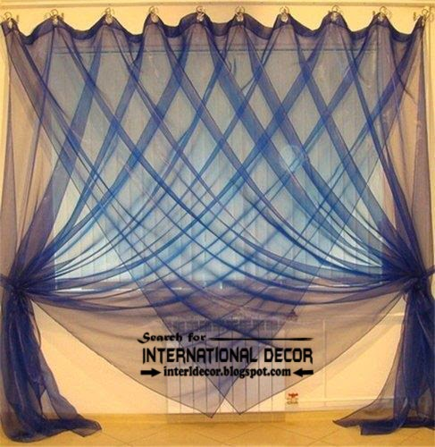 Contemporary sheer curtain styles, blue curtains, blue sheer curtains