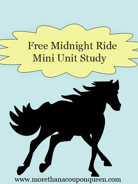 Over the last few weeks in co-op we have used Liberty's Kids to study  The Intolerable Acts, and The First Continental Congress, and Slavery. This week we moved on to episode 5 of Liberty's Kids. We learned a bit more about Paul Revere and his midnight ride. I have put together a great printable pack for you work on with your kids as you study The Midnight Ride.