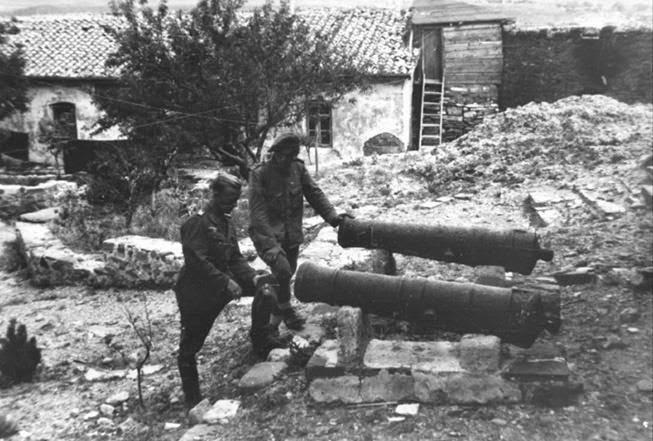 Немецкие солдаты рассматривают пушки 19 века