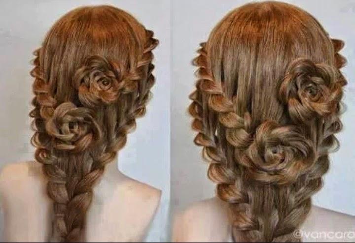Lace Braid Rose Hairstyle For Long Hair | Creative Ideas
