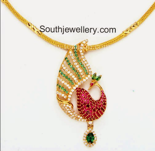 simple gold necklace with cz peacock pendant