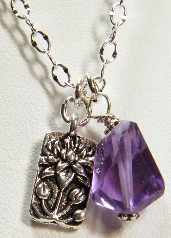 silver lotus necklace with amethyst