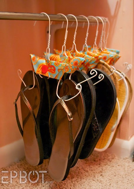 Organize flip flops on wire hangers :: OrganizingMadeFun.com