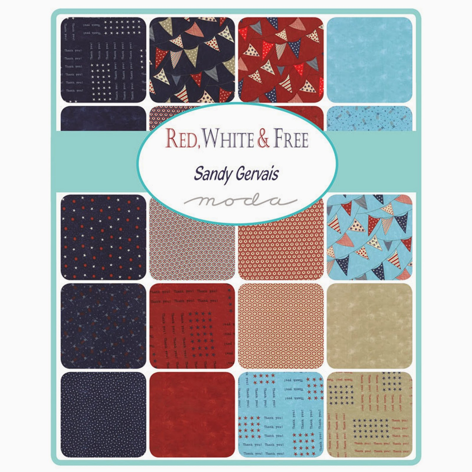 Moda RED, WHITE & FREE Fabric by Sandy Gervais for Moda Fabrics
