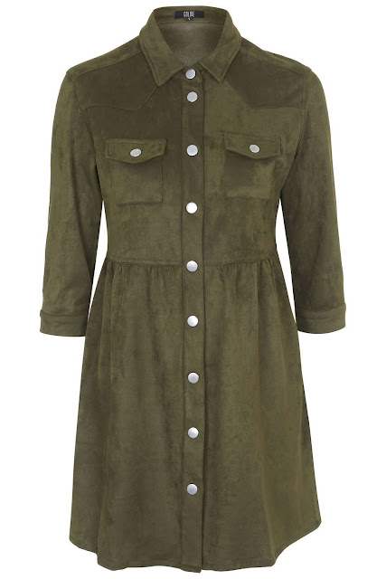 suede shirt dress, khaki shirt dress, Goldie green dress,