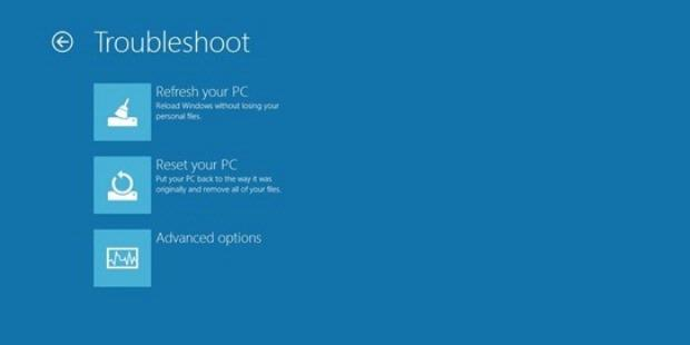 Windows 8 provides the Reset button