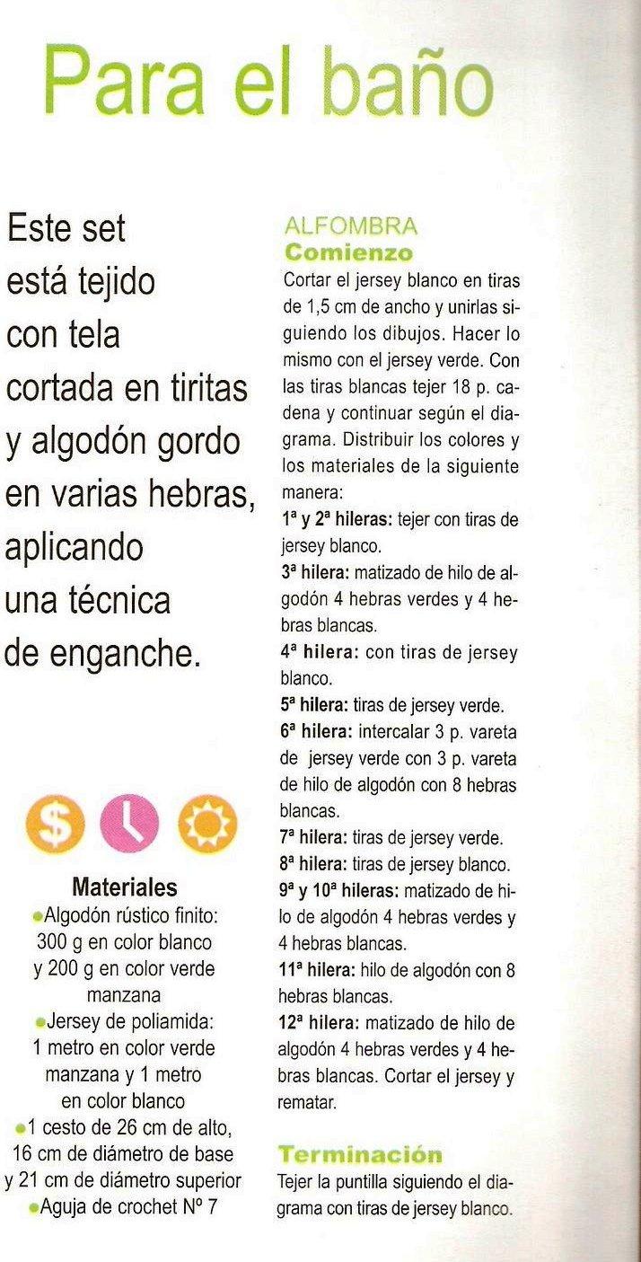 Set De Baño En Crochet Con Una Aguja:TresP craft blog: PATRÓN ALFOMBRA Y CESTO DE CROCHET PARA EL BAÑO