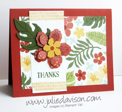 Stampin' Up! Botanical Gardens Blooms Thank You Card from 2016 Occasions Catalog #stampinup www.juliedavison.com