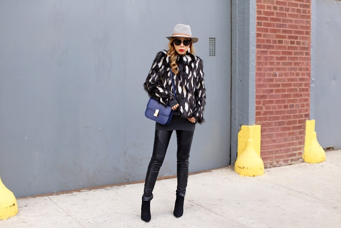 Topshop Faux fur coat, blank denim moto pants, celine classic box bag, missguided ankle booties, ankle booties, faux fur coat, prada sunglasses, kendra scott earrings, hat attack hat, street style, fashion blog