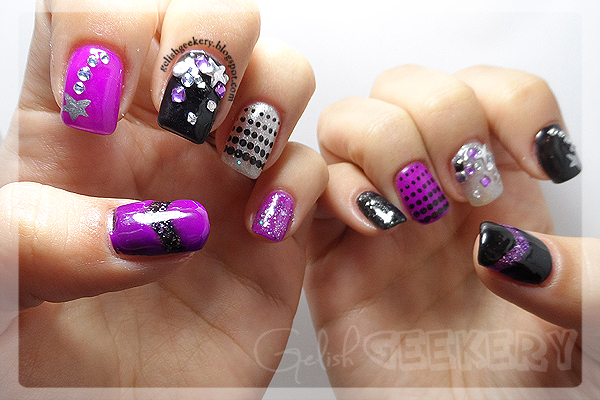 Gelish Black and Purple Stars Bling Nails