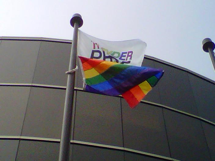 The rainbow flag is flying high over Thunder Bay's City Hall.